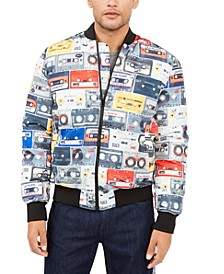 Men's Cassette Print Bomber Jacket