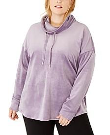 Plus Size Cowlneck Drop-Shoulder Pullover