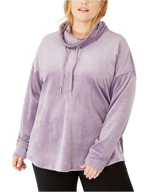 Calvin Klein Plus Size Cowlneck Drop-Shoulder Pullover