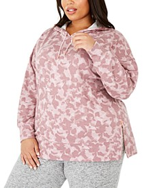 Plus Size Zipper-Hem Camouflage Hoodie, Created For Macy's