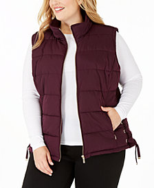 Calvin Klein Plus Size Lace-Up Puffer Vest