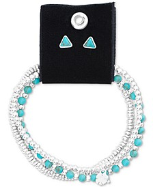 Silver-Tone Turquoise-Look Stone Triangle Stud Earrings & Beaded Stretch Bracelets Set