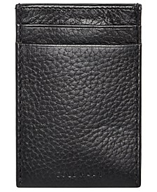 Men's Leather Money Clip Card Case