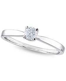 Certified Diamond 1/4 ct. t.w. Solitaire Engagement Ring in 14k White Gold