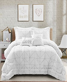 Trio Geo Metallic Print 5-Piece Full/Queen Comforter Set