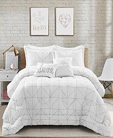 Trio Geo Metallic Print 5-Piece Full/Queen Comforter Set