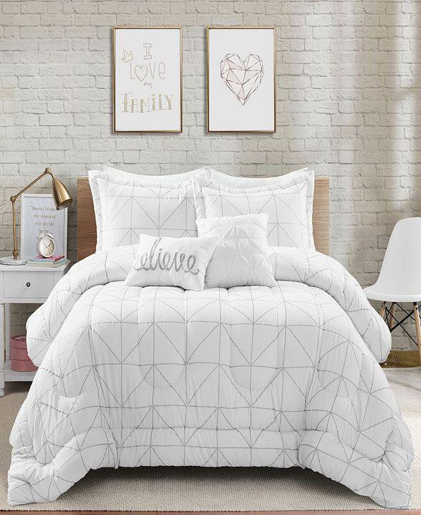 Lush Decor Trio Geo Metallic Print 5-Piece Full/Queen Comforter Set