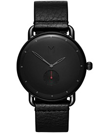 Men's Revolver Basin Black Leather Strap Watch 41mm