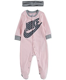 Baby Girls 2-Pc. Cotton Footed Coverall & Headband Set