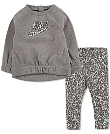 Baby Girls 2-Pc. Leopard-Print Fleece Tunic & Leggings Set
