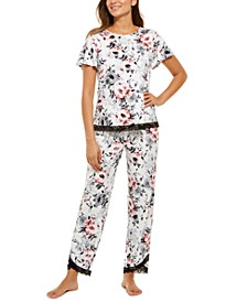 Lace-Trim Floral-Print Pajamas Set, Created for Macy's