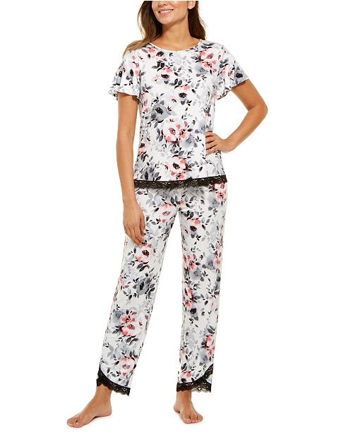 Charter Club Lace-Trim Floral-Print Pajamas Set, Created For Macy's