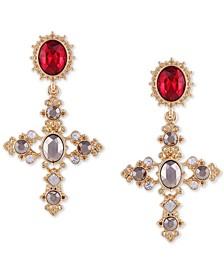 Gold-Tone Crystal Cross Drop Earrings