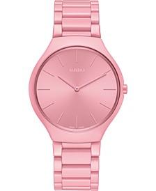 Unisex Swiss True Thinline Les Couleurs Le Corbusier Pink High-Tech Ceramic Bracelet Watch 39mm