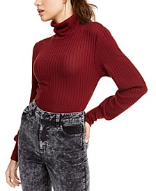 Juniors' Ribbed Turtleneck Top