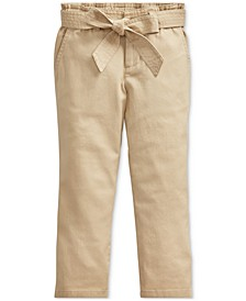 Little Girls Belted Cotton Paperbag Pants