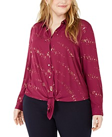 Plus Size Printed Button-Front Tie-Hem Top
