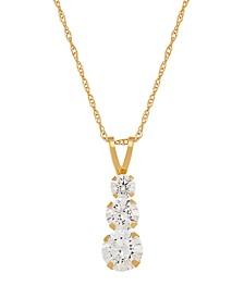 Swarovski Crystal (1-3/8 ct. t.w.) Three Stone Pendant Necklace in 14k Yellow Gold