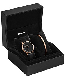 Women's Boulevard Santa Monica Black Leather Watch Set 38mm