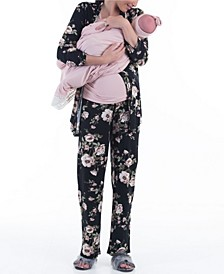 5 Piece Kimono Wrap Floral Top Matching Pants, Pink Nursing Top, Baby Wrap and Baby Bow Set