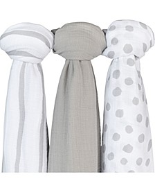 Bambini Muslin Cotton Swaddles, 3 Pack