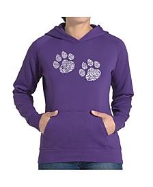 Women's Word Art Hooded Sweatshirt -Meow Cat Prints