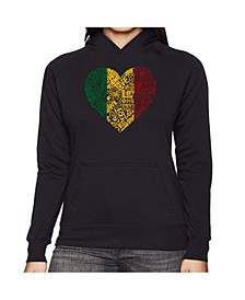 Women's Word Art Hooded Sweatshirt -One Love Heart