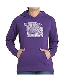 Women's Word Art Hooded Sweatshirt - Pug Face