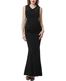 Tilda Maternity Lace Trim Mermaid Maxi Dress