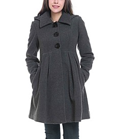 Faye Maternity Wool Blend Pleated Coat