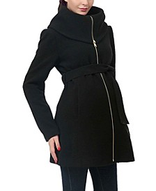 Mia Maternity Wool Blend Fold Collar Coat