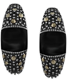 Genuine Swarovski Marcasite and Onyx (6-5/8 x 7mm) Curved Drop Earrings in Fine-Silver-Plate (Also in Pink Shell)