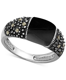 Genuine Swarovski Marcasite and Onyx (9-1/3 x 10mm) Ring in Fine-Silver-Plate (Also in Pink Shell)