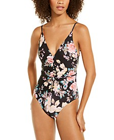 First Date Printed Shirred One-Piece Swimsuit