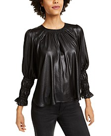 Smocked Faux Leather Top