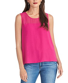 Mesh-Yoke Sleeveless Top