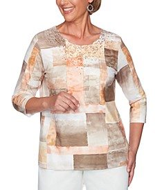 Petite First Frost Watercolor Patchwork-Print Knit Top With Lace