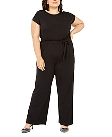 Trendy Plus Size Belted Paperbag-Waist Jumpsuit