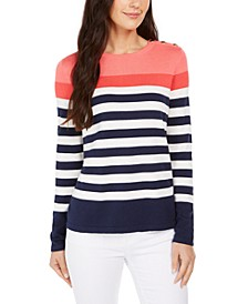 Striped Button-Shoulder Sweater, Created for Macy's