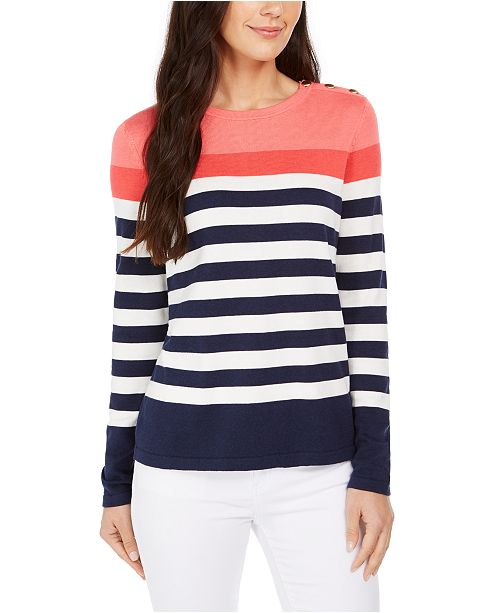 Charter Club Striped Button-Shoulder Sweater, Created For Macy's