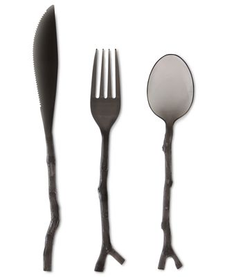 madhouse by michael aram black twig 12 piece flatware set id