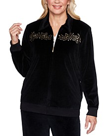 Petite Bright Idea Beaded Velour Jacket