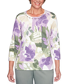 Alfred Dunner Petite Loire Valley Cotton Patch Leaf Sweater