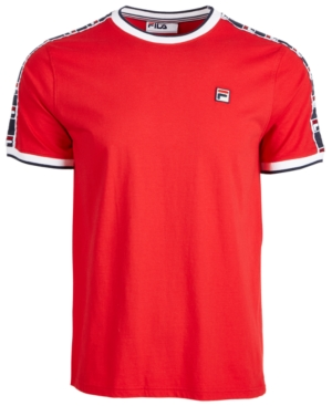 Fila Men's Side Tape T-shirt In Chinese Red/  Navy/ White