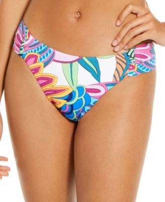 Paradise Plume Printed Side-Shirred Bikini Bottoms