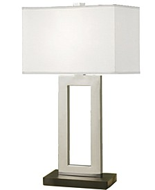 "Geometric 29"" Contemporary Contrast Table Lamp with Rectangular Hardback Shade"