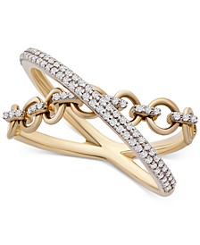 Diamond Crisscross Chain Link Statement Ring (1/4 ct. t.w.) in 14k Gold, Created for Macy's