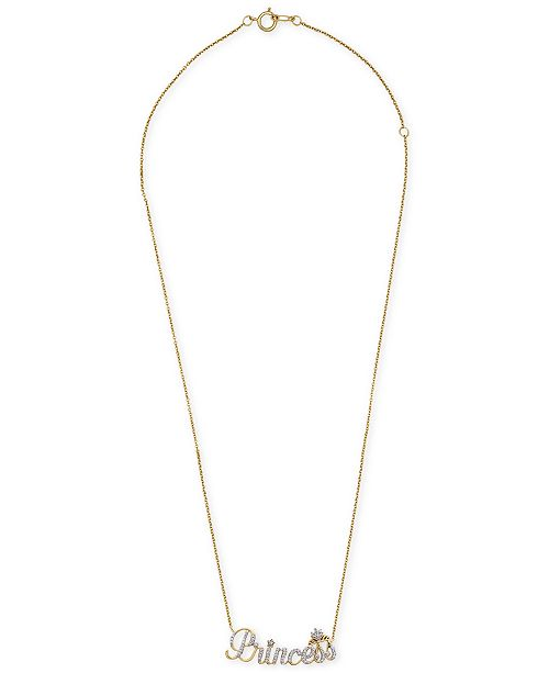 "Wrapped Diamond Princess 18"" Pendant Necklace (1/6 ct. t.w.) in 14k Gold, Created for Macy's"
