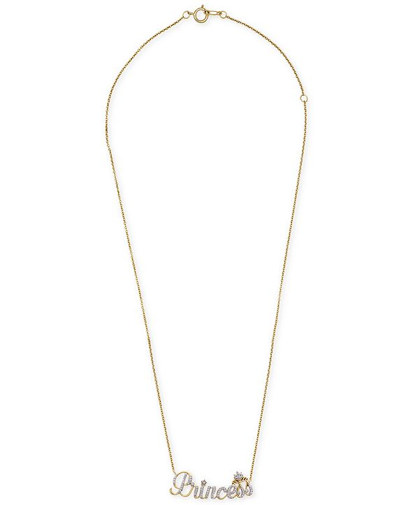 """Wrapped Diamond Princess 18"""" Pendant Necklace (1/6 ct. t.w.) in 14k Gold, Created for Macy's"""