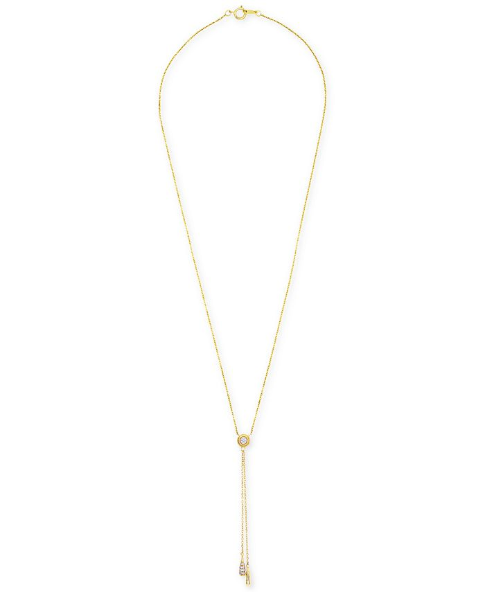 """Wrapped - Diamond 20"""" Drop Pendant Necklace (1/10 ct. t.w.) in 14k Gold"""
